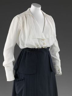 Woman's woollen gabardine coat and mid-calf skirt, designed by Lucile, 1916, at the V & A Museum