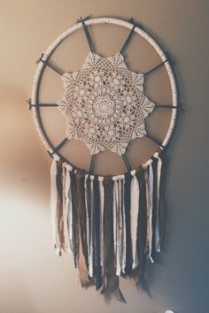 Homemade hula hoop dream catcher