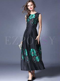 Elegant O-neck Jacquard Sleeveless Maxi Dress dcaff7b26474