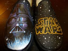 50 Unique And Wonderfully Geeky Hand-Painted Shoes - Star Wars Shoes - Ideas of Star Wars Shoes - Community Post: 50 Unique And Wonderfully Geeky Hand-Painted Shoes Painted Toms, Painted Canvas Shoes, Custom Painted Shoes, Hand Painted Shoes, Custom Vans, Custom Shoes, Disney Painted Shoes, Custom Clothing, Star Wars Vans