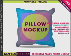 Decorative Square Pillow Photoshop Fabric Mockup SM3-1 | Movable pillow | 4 Styled JPG Scenes | White Cushion on wood floor