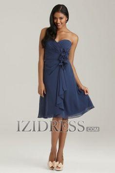 Sheath/Column Strapless Sweetheart Chiffon Bridesmaids Dress - IZIDRESS.COM