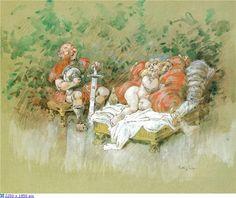 Принцесса  и  пастух. Удивительно, но про шведского художника – иллюстратора Роберта Хёгфельдта известно очень мало, и это при том, что жил он совсем недавно. Родился Хёгфельдт 13 февраля 1894 в Эйндховене, Нидерланды. Живопись начал изучать в Дюссельдорфе, затем с 1913 по 1917 в Стокгольмской академии и в Париже.