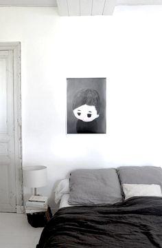 Black and white scandinavian bedroom. L'Affiche Moderne