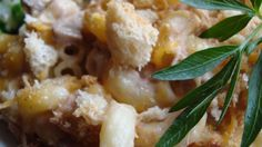 : : : Cheese Lover's Tuna Casserole : : : Doubled, it takes about 30 min to cook.  Uses 2 bags of croutons.
