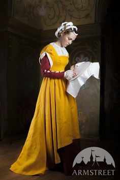 Dress, Underdress and Chemise Traditional Central Europe Costume Set