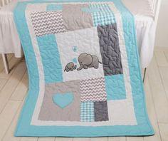Aqua coperta grigia, elefante trapunta coperta, coperta Patchwork di Chevron del bambino  Una nuova combinazione di colori dellelefante