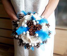 Winter wedding frozen wonderland BOUQUET Cream Flowers, pine cones, raw cotton, feathers, frozen fruits, sola roses, blue
