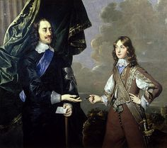 Charles I, King of England, son of James I/VI, grandson of Mary, Queen of Scots, with his son James II
