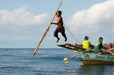 Traditional method of leaping from a boat platform to harpoon a whale, Lamalera, Lembata Island, Eastern Indonesia.
