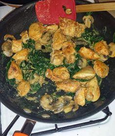 Recipe Author: Brittany Simpson   Chicken Onion powder Garlic powder NuSalt (salt substitute) Pepper Smoked Paprika Spinach Mushrooms 1 Tbsp fat free cream cheese 1 tsp Parmesan Cheese Season your chi