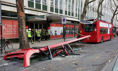 Five people were injured after a London double decker bus had its roof ripped off by a tre...