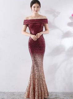 Shop Slash Color-blocked Sequined Slim Mermaid Prom Dress at EZPOPSY. Party Dresses For Women, Trendy Dresses, Elegant Dresses, Nice Dresses, Fashion Dresses, Formal Dresses, Sequin Bridesmaid Dresses, Mermaid Prom Dresses, Bridesmaids
