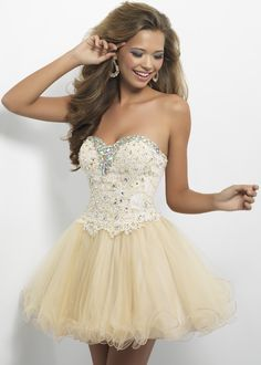 Blush Prom 9652 Strapless Lace Dress - Champagne studded fit and flare! This beautiful bustier is dramatic as elegant jewels define your neckline.