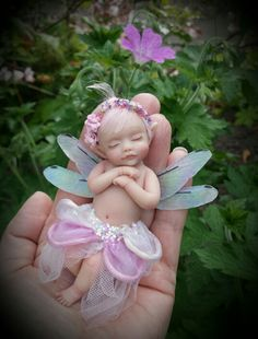 WEEFAIRYTALES one of a kind Sleepy Wee fairy by Shirley Ann Mackillop