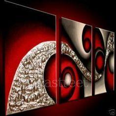 cuadro abstracto en rojos t plateados ynegro