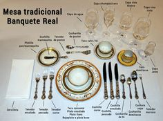 Most comprehensive traditional formal place settings. Exact placement for every piece of silver, glass or crystal. Comment Dresser Une Table, Royal Table, Dining Etiquette, Table Setting Etiquette, Etiquette And Manners, Table Manners, Dessert Spoons, Cordial, Deco Table