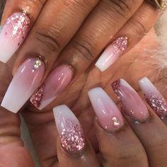 Rose Gold Nails, Pink Nails, Rose Gold Nail Design, Glitter Ombre Nails, Marble Nail Designs, Nail Art Designs, Nail Designs With Gems, Glitter Nail Designs, White Acrylic Nails