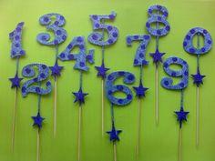 adorno para torta numeros con brillo celeste para nenes