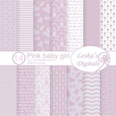 digital paper download in soft vintage pink for a baby girl. Great for baby shower invitations, nursery wall decor, scrapbooking and craft projects #digitaldownload