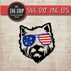 828a4dcb540f Patriotic Westie Dog - July 4th - America - Flag Glasses - Summer - Svg Dxf  Png Eps - Clipart - Cut File