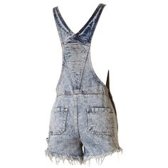 """Field Trip"" Distressed Jeans Overalls Shorts (5355 RSD) ❤ liked on Polyvore featuring short overalls"