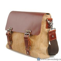 Khaki Genuine Cow Leather Men's leather bag canvas Bag leather canvas Briefcase…