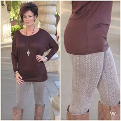 Customer favorite!! Cable knit leggings are back and this go around in brown! Pairs great with one of our dolman tops and boots. || Leggings  #120515-1 $32 ---> 32 || Dolman 120515-2 ---> $24 || Call our boutique 702-906-1723, click the Shop Now button at the top of our Facebook page or use our easy jot form located in our Instagram Bio #apricotlanetownsquare #newarrivals #texturedleggings #leggings #dolman #fashion