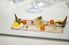 """Per Se: Cobia Pastrami""""  Pumpernickel Crisps, Green Tomatoes, Mustard Seeds, Sungold Tomatoes, Mustard Cress and Hard Boiled Squire Hill Hen Egg"""