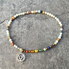 Chakra Gemstones and Amazonite Fifth Chakra Anklet
