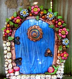 Dahlia Delight Fairy Door Pixie Portal by PinkChihuahuaCrafts Polymer Clay Fairy, Clay Fairies, Fairy Garden Houses, Fairy Doors, Salt Dough, Fairy Dust, Miniature Fairy Gardens, Painted Doors, Clay Art