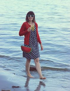Summer fashion, sundress, red cardigan, watermelon clutch, Aventura clothing, Charming Charlie Necklace, dress, women, outfit, style, jewelry