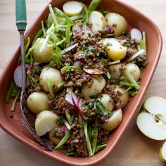 Apple Cranberry Lentils with New Potatoes: Lentils are gently simmered with apple juice, dried cranberries and basil for a subtle play on sweet and savory. Potatoes are steamed until just tender to make a delicious base for the lentil dressing. #MeatlessMonday