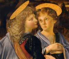 Ángeles atribuidos a Leonardo en el Bautismo de Cristo (c. 1475), de Andrea del Verrocchio