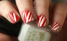 12 Days of Christmas Nails: Day 7... Sweet Talkin, Sugar Coated Candy Cane (from The Nailasaurus)