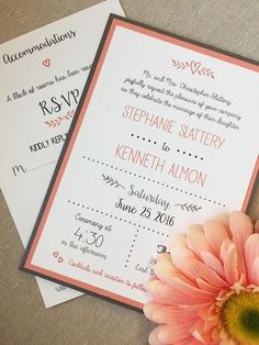 Coral and Gray Rustic Boxed Fonts Wedding Invitations - Custom Invites from Happy Frog Invitations