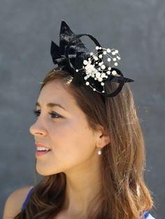 Black velvet #fascinator, black cocktail hat, high fashion #hat, couture hat, avant garde, #wedding