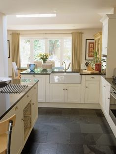 Delectable White Kitchen Cabinets Slate Floor Gallery Slate Floor Tiles Kitchen White Cabinets Wood Worktop Subway Tiles