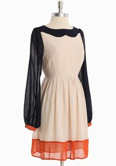 Simple Perfection Colorblock Dress navy and beige with hints of persimmon   Modern Vintage Dresses