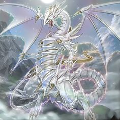 """Blue-Eyes Spirit Dragon"" by Yugi-Master Yugioh Dragon Cards, Yugioh Dragons, Dnd Dragons, Cool Dragons, Mythical Creatures Art, Fantasy Creatures, Desenho Yu Gi Oh, Fantasy Dragon, Fantasy Art"