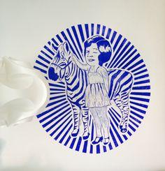 Zebra girl linoprint 100x100cm by Monika Petersen