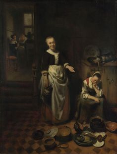 Nicolaes Maes  | The idle servant - Dutch Golden Age painting