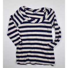 Splendid 3/4 length stripped t this shirt is adorable. navy and oatmeal stripped with creased pleats at the collar. Splendid uses the softest fabrics and this one does not disappoint! Splendid Tops