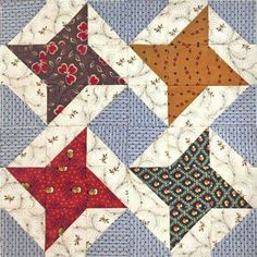 Sewing Block Quilts Continuous Friendship Star Quilt Block - AM - AM Lap Quilts, Scrappy Quilts, Small Quilts, Mini Quilts, Star Quilt Blocks, Star Quilt Patterns, Pattern Blocks, Block Quilt, Colchas Quilting