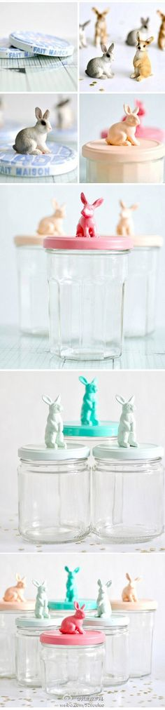 Diy easter gifts Just get jars and plastic bunnies and then paint the lids and bunnies. Glue bunny onto lid and fill with Easter treats, cookies, candy, toys etc. Spring Crafts, Holiday Crafts, Holiday Fun, Holiday Decorations, Christmas Gifts, Hoppy Easter, Easter Bunny, Diy Projects To Try, Craft Projects