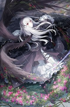 Anime picture with rozen maiden suigintou kyurin (sunnydelight) long hair single tall image looking at viewer red eyes standing silver hair holding rain black wings girl dress weapon flower (flowers) sword wings petals Art Manga, Anime Art Girl, Manga Girl, Anime Girls, Beautiful Anime Girl, I Love Anime, Awesome Anime, Anime Art Fantasy, Anime Angel