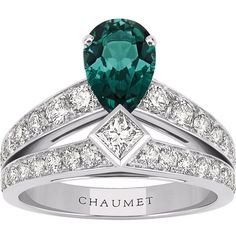CHAUMET Joséphine Tiara 18ct white-gold, green tourmaline and diamond... ($12,915) ❤ liked on Polyvore featuring jewelry, rings, white gold jewelry, white gold diamond ring, pear ring, white gold princess cut diamond ring and brilliant diamond ring