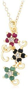"Yellow Gold Plated Sterling Silver Sapphire, Ruby, Emerald and Diamond Accent Flower Pendant, 18"",$27.73"