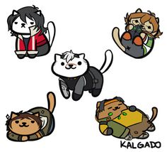 Voltron characters as cats.