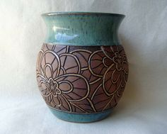 Hand Carved Pottery Vase with  Mosaic Look Flower by KittingerClay